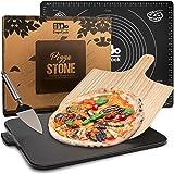 DOGE COOK Pierre à Pizza Vernie + Pelle à Pizza en Bambou + Spatule + Tapis Cuisine en Silicone | Kit Pizza Complet | Pierre