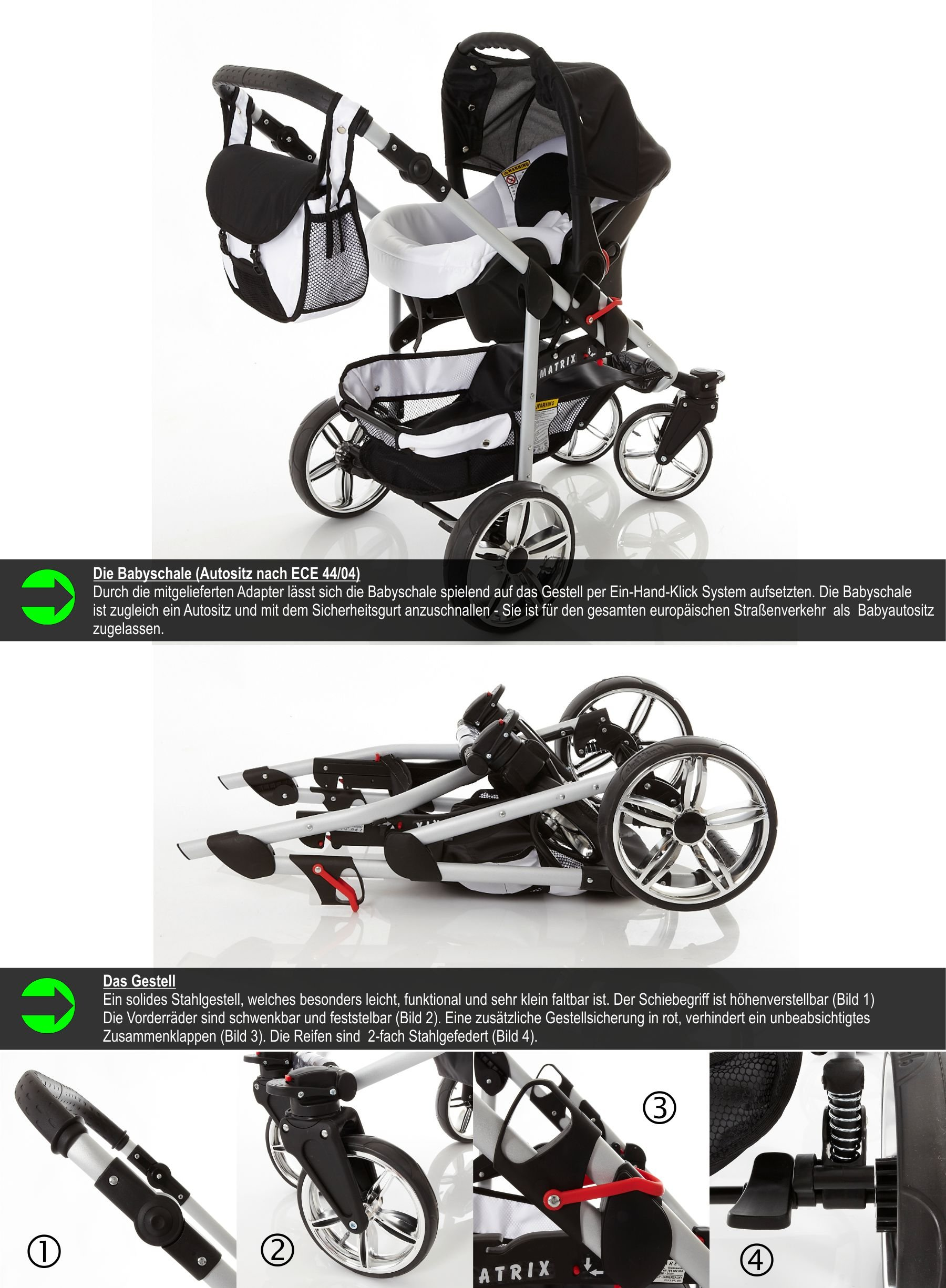 Chilly Kids Matrix II Pram & Pushchair Travel System (car seat & adapter, raincover, mosquito net, swivel wheels) 59 White & Leopard  Stroller with accessories all included 3 free items More information on www.youtube.com/Lux4Kids Sturdy steel construction, height-adjustable handlebars, adjustable hood hood, converts into a stroller and many pl Made in the EU (DIN EN1888/2005) 5