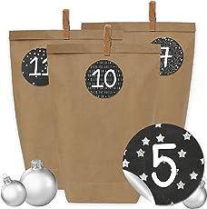 Papierdrachen 24 Adventskalender Kraftpapiertüten, Zahlenaufkleber und Klammern - DIY Set zum selber Basteln und zum Befüllen für Männer - Design 16