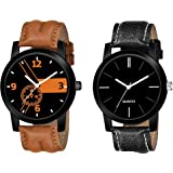 BRAND GALLERY Pack of 2 Multi Color Analog Watch for Men and Boy-Watch Combo Pack of 2