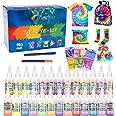 Tie Dye Kit, Flyqiuty Textiles de Tela 26 piezas Colores Pinturas Ropa Tinte Graffiti para Proyectos de Bricolaje y Actividad