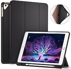 Ztotop iPad 9.7 2017/2018 Hülle mit Apple Pencil Halter- Ultra Schlank leichte TPU Rückseite und Klappständer mit automatischem Schlaf/Aufwach, für Apple iPad 9,7 Zoll 5/6 Generation (A1893/A1954/A1822/A1823)Schwarz