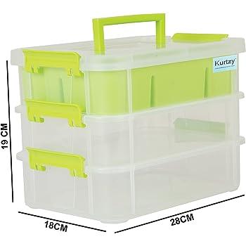 Kurtzy Plastic Storage Box 3-Layer Transparent Portable Organizer Container 28X18X19 Cm