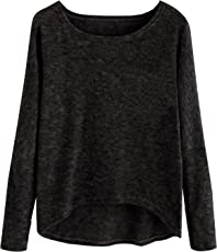 fabula Women's Plain Anthra Cotton Tshirt with Round Neck and Long Sleeve