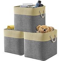Dricar Panier Rangement, Lot de 3 Boîte de Rangement Pliable en Tissu avec Poignées en Corde Idéal pour Etagères…