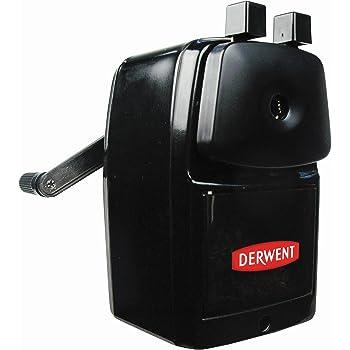 Derwent 2302001 Manual Helical Desktop Sharpener, Super Point, Sliding Tray Reservoir and Desk Clamp, Professional Quality,Black