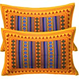 RajasthaniKart 100% Cotton Pillow Cover (Set of 2) - Multicolor - Yellow