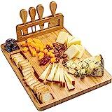 Bamboe Kaasplank met Kaasmessen Set – Bamboo Cheese Board – Kaasplaat van Hout met 4 Messen voor 2-3 Personen – Beste Cadeau