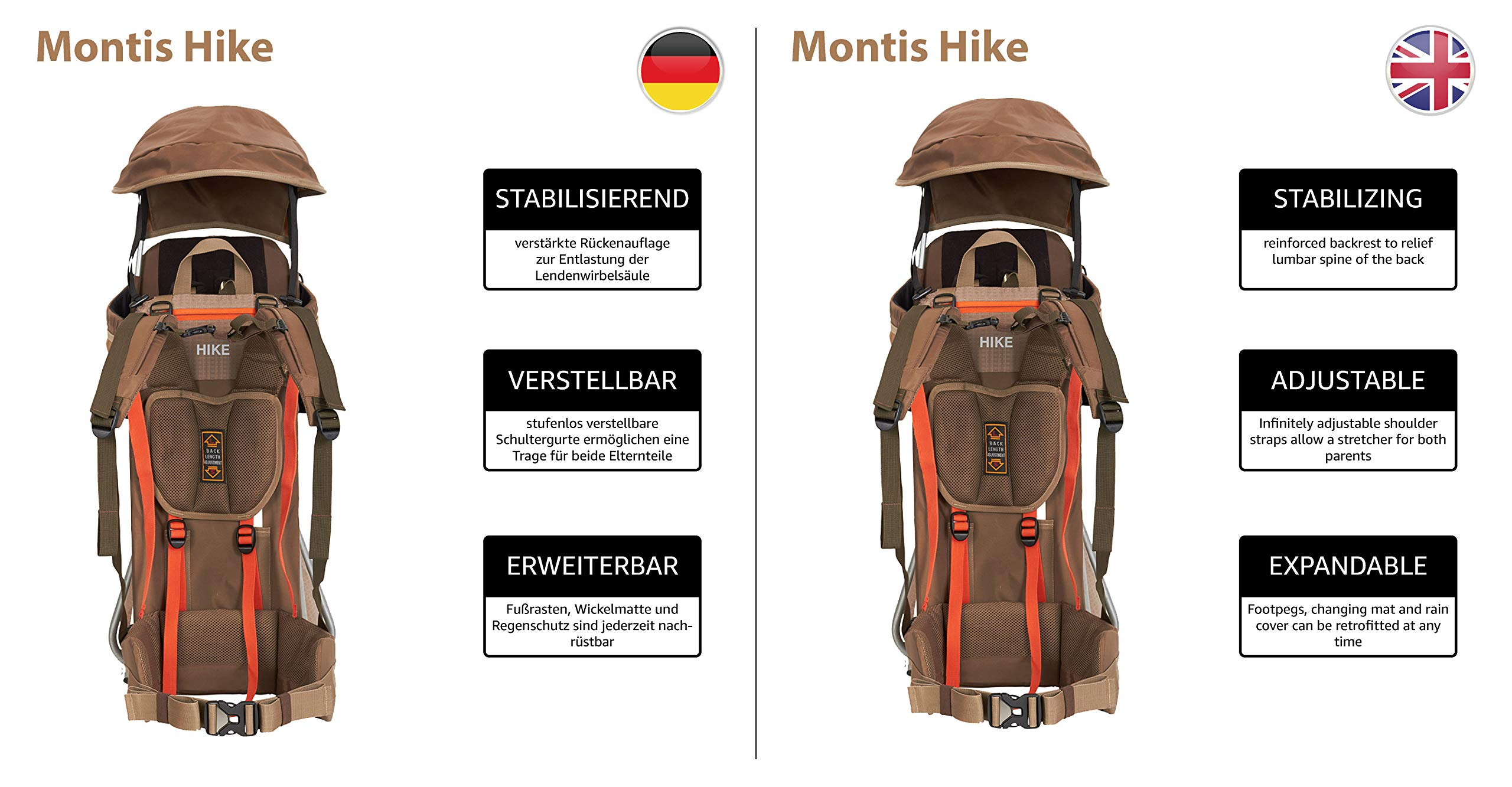 MONTIS HIKE, Premium Back Baby/Child Carrier, Up to 25kg, (mocha) M MONTIS OUTDOOR 89cm high, 37cm wide | up to 25kg | various colours | 28L seat bag Laminated and dirt-repellant outer material | approx. 2.2kg (without extras) Fully-adjustable, padded 5-point child's safety harness | plush lining, raised wind guard, can be filled from both sides | forehead cushion 6
