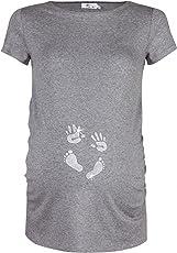 Happy Mama. Damen Baby Hände Fußabdruck T-Shirt Top Oberteil Schwangere. 013p