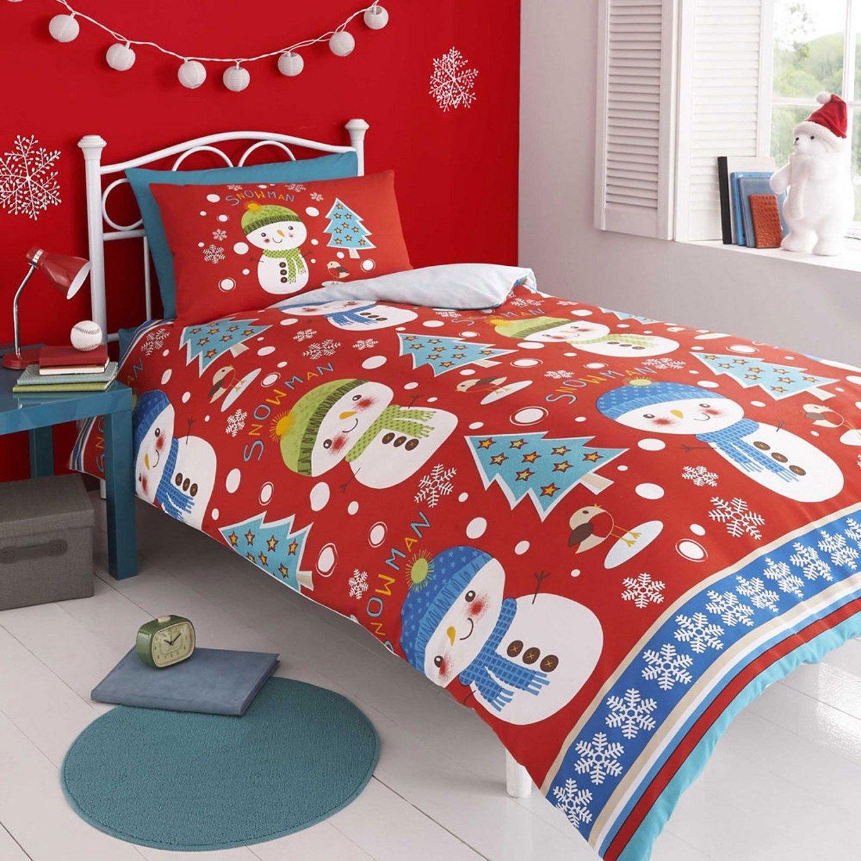 Christmas Bed Linen Sets Part - 50: Childrenu0027s Christmas Snowman Red U0026 Blue Single Duvet Cover Set Inc.  Pillowcase By Kids Club: Amazon.co.uk: Kitchen U0026 Home