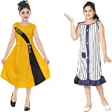 Vastra Fab Kids Girl a-line Knee Length Multicolor Frocks and Dress