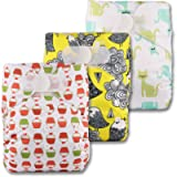 Littles & Bloomz, Reusable Pocket Cloth Nappy, Fastener: Hook-Loop, Set of 3, Patterns 301, with 3 Bamboo Inserts