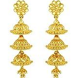SHAYZA Traditional Temple Jewellery 18k One Gram Gold Ethnic Stylish South Indian Screw Back Studs Meenakari Round Flower Ear