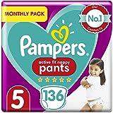 Pampers Premium bescherming luierbroek maat 5, 136 luierbroek, 12-17 kg, maandelijks besparingspakket, zachte touch op huid i