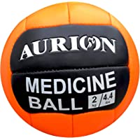 Aurion Medicine Ball Gym Abs Exercises| Leather Weighted Med Ball for Functional Training Fitness | Great for Cleans, Throws, Crunches| Available in 1, 2,3,4,5,6,7,8,9,10 and 12KG