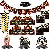 Kit de Decoración de Fiesta de Hollywood de 20 Piezas Banner Now Showing Centros de Mesa de Panal de Cine Recortes de Noche d