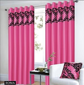 roman vorhange schal mit Ösen rosa schwarz vorhang gardine ... - Schwarz Rosa Schlafzimmer