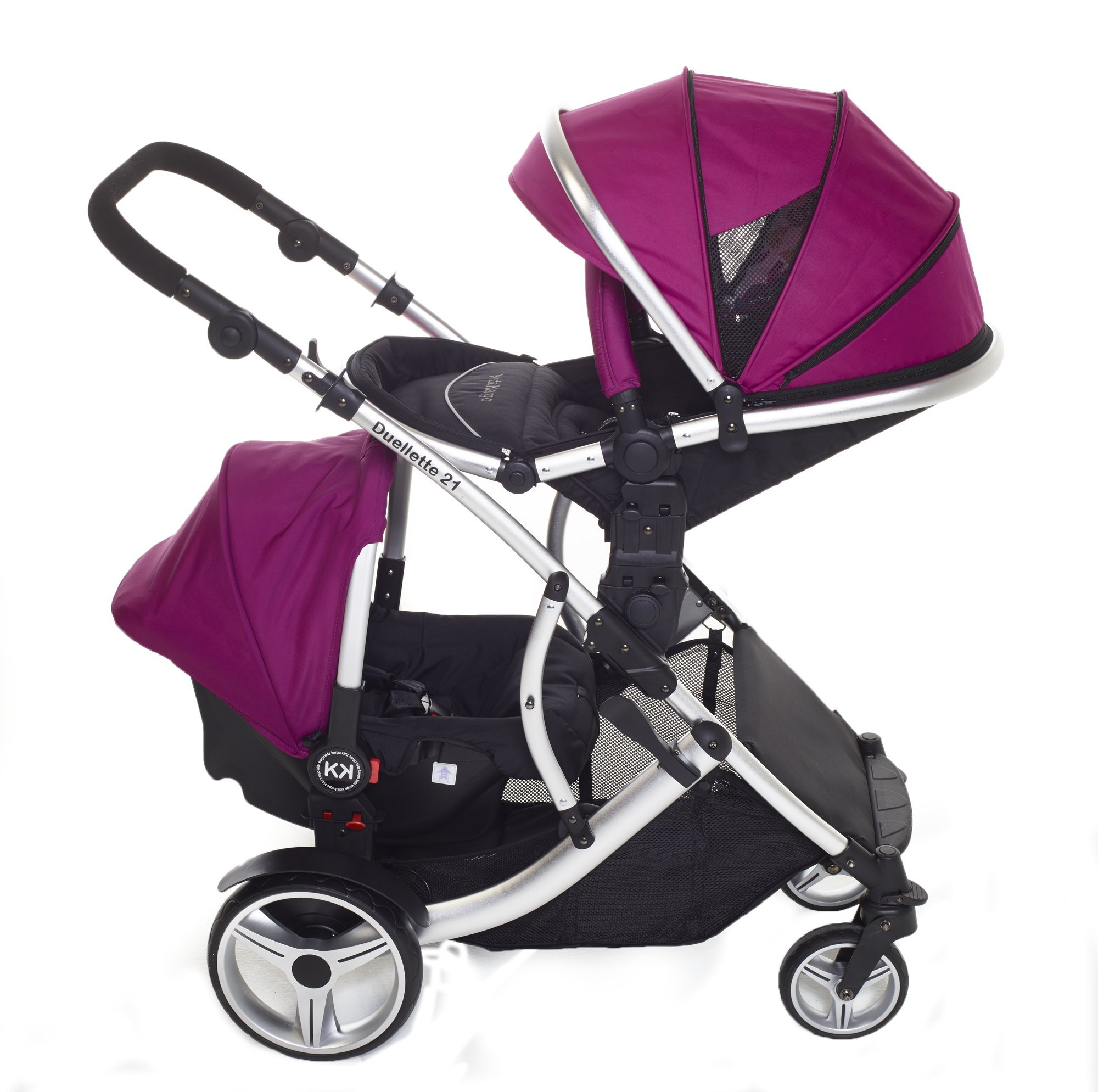 Kids Kargo Double Twin Tandem Pushchair. Duellette BS Suitable for Twins from 6 months. Stroller by Kids Kargo (Dooglebug raspberry) Kids Kargo Demo video please see link http://youtu.be/Ngj0yD3TMSM Various seat positions. Both seats can face mum (ideal for twins) Suitability Twins (Newborn Twins if used with car seats). Accommodates 1 or 2 car seats 2