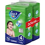 Fine Baby Fast Sorption, Size 4, Large, 7-14 kg, Two Mega Packs, 148 Diapers