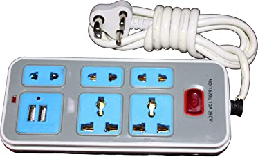 Citra Extension Cord Power Strip with 5 Sockets and 2 USB Ports for Mobile Charging