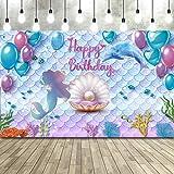 Telón de Fondo de Fiesta de Cumpleaños de Sirenita Bajo el Mar Telón de Fondo de Fotomatón de Cumpleaños de Princesa Sirena B