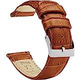 Barton - Cinturino in pelle per orologio, motivo coccodrillo, a sgancio rapido, colori e lunghezze assortiti, misure standard