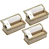 HomeStrap Set of 3 Brocade Design Single Rod Storage Bangle Box for Women/Chudi Organizer Holder with Transparent Top (Golden