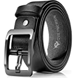 Men's belt, OVENERSIN Genuine Leather Causal Dress Belt for Men with Classic Single Prong Buckle