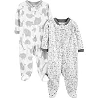Simple Joys by Carter's Unisex Baby 2-Pack Fleece Footed Sleep and Play, Pack of 2