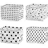Mutsitaz Lot de 4 paniers de Rangement carrés Pliables pour étagères et Jouets 20,5 x 17 x 15 cm