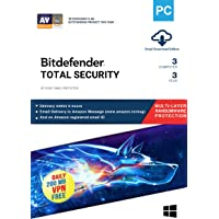 BitDefender 3 User, 3 Years Total Security (Windows) Latest Version with Ransomware Protection - (Email Delivery in 2 hours - No CD)