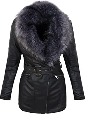 Rock Creek Selection Giacca invernale da donna, in ecopelle, con collo in pelliccia sintetica, D-353 S-XL