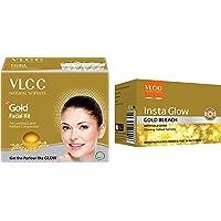 VLCC Gold Facial Kit, 60g & VLCC Natural Sciences Insta Glow Gold Bleach, 402g
