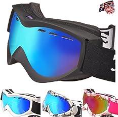 RayZor Ski- / Snowboardbrille - Anti-Beschlag, UV400-Schutz, belüftete Ski- und Snowboard-Brille, bequem, bruchsicher für Skis, Schneemobile, Snowboards, blendfrei, belüftete Schneebrille
