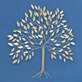 Hexa® Contemporary Leafy Tree Metal Wall Decor Art, Golden Gilded Metal, Hammered and Incised Details, 29 W x 29 H Inches