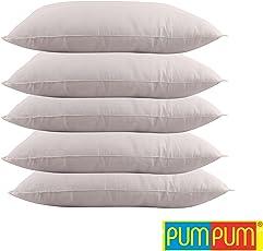 """PumPum Hollow Fibre Filled 5 Piece Pillow Set - 16"""" x 24"""", Antique White"""
