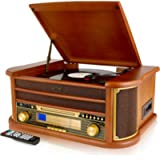 Denver MCR-50 Retro Wooden Music Centre Hi-Fi With Remote Control, Record Player, CD Player, Cassette Player, FM/AM…