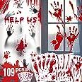 Décorations de Halloween empreinte sanglante d'empreinte - 109 PCS Halloween fenêtre s'accroche, autocollants de tatouage, au