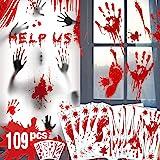 Decoraciones de Halloween de huella de mano sangrienta - 109 piezas de adornos de ventana de Halloween, sangrienta Adhesivos