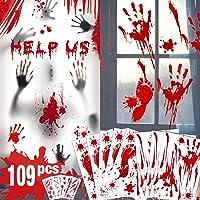 Décorations de Halloween empreinte sanglante d'empreinte - 109 PCS Halloween fenêtre s'accroche, autocollants de…