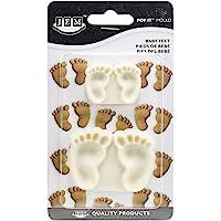 JEM 1102EP002 Lot de 2 Moule en Forme de Pieds de Bébé pour Décoration de Gâteaux, Plastique, Blanc, 6 x 2 x 4,5 cm