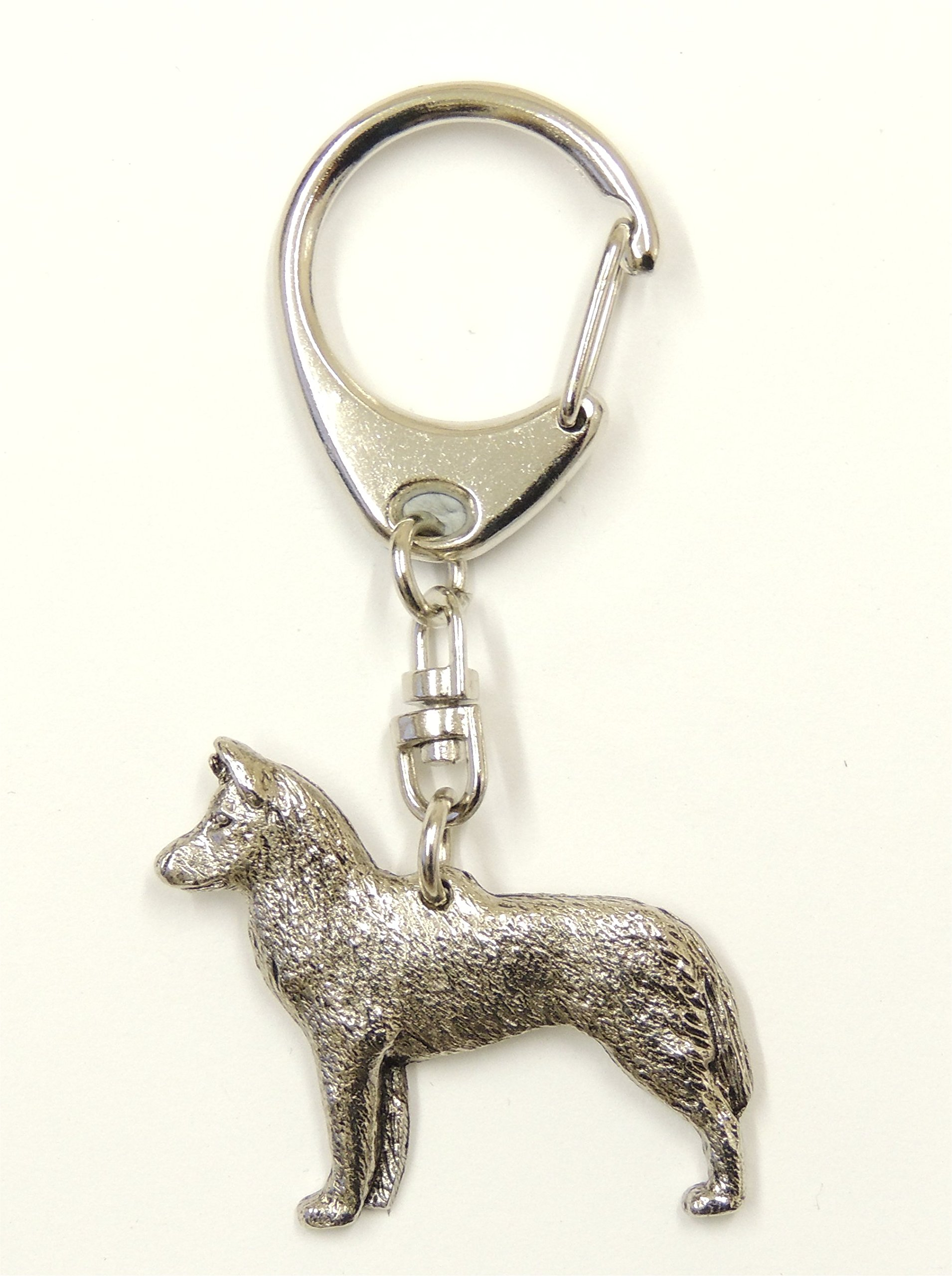 Keyring Siberian Husky Silver Finish