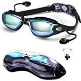 DXK Swimming Goggles, Mirrored Swim Goggles No Leaking Anti Fog UV Protection 180 Degree Vision with Free Protection Case and