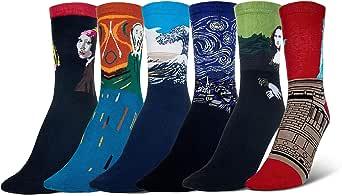 Wolintek Unisex Calzini Famose Masterpiece Arte Retro Pittura Serie Calze da uomo, Confezione da 6 Paia