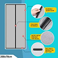 Lifekrafts Polyester Mosquito Screen Curtain for Main Doors Mesh with Magnets (Black, 200 x 70 Cms)