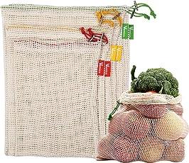 Vemico Gemüsebeutel Baumwolle Wiederverwendbare Obst Einkaufstaschen Lebensmittelbeutel Mit Kordelzug Im 6er Set Beige(2XL,2xM,2XS) Plastikbeutel Ablehnen