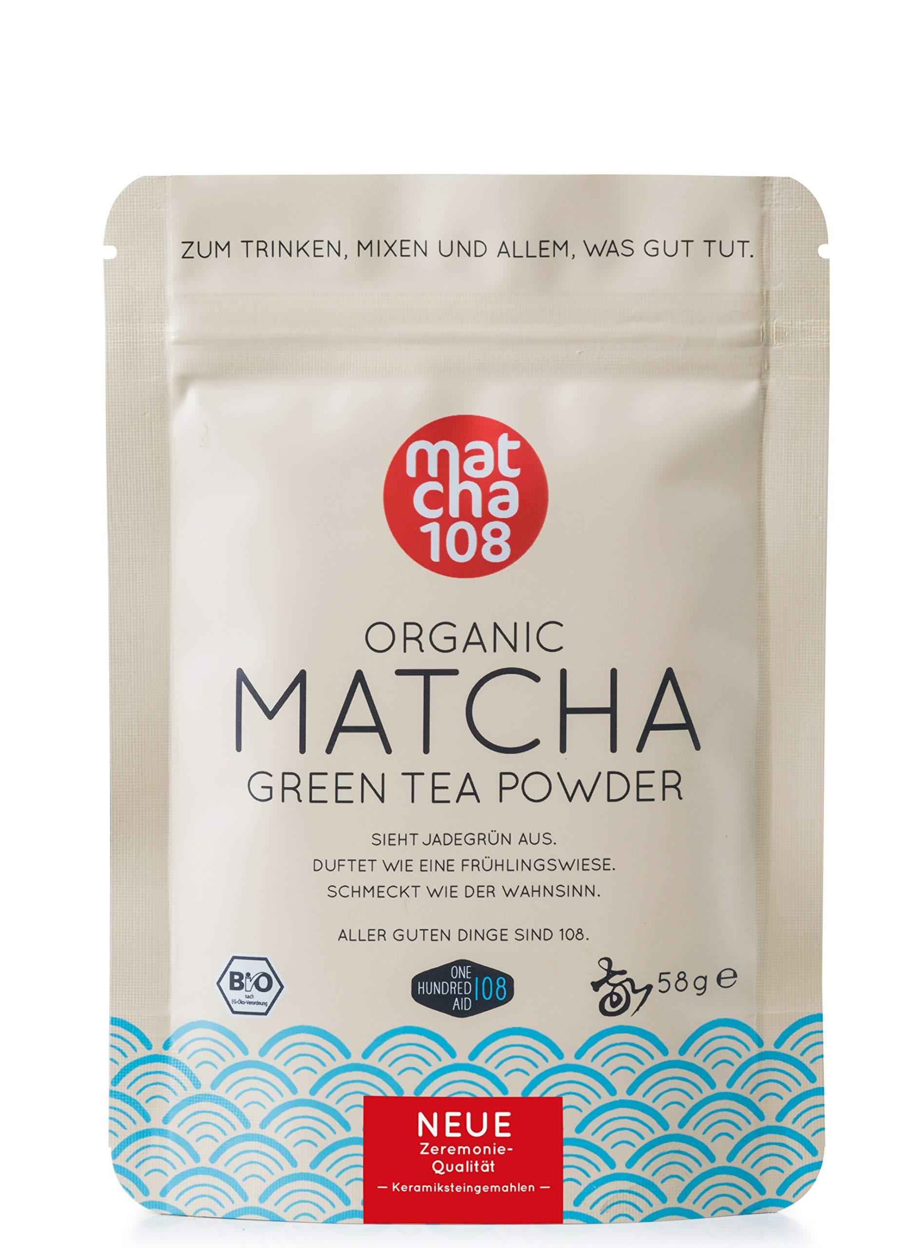 Matcha-Pulver-Tee-108–Bio-Zeremonie-Qualitt-fr-milden-Teegenuss–Ideal-auch-fr-Smoothies-und-Lattes-Zertifiziertes-Grntee-Pulver-58g-Ceremonial-Grade-Green-Tea