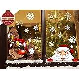 heekpek Navidad la Decoración del Hogar de Vinilo Ventana Pegatinas de Pared Decorativos Santa Elk Copos de Nieve de Navidad
