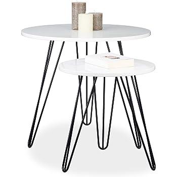EMAKO Beistelltisch 3er Set Klein Deko Rund Holz Holztisch Balkontisch  Stapelbar Tisch Gartentisch Kaffeetisch Esstisch Aus Natürlichem Teakholz